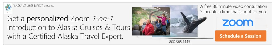 Get a personalized zoom 1-on-1 introduction to Alaska Cruises & Rail Tours with a Certified Alaska Travel Expert